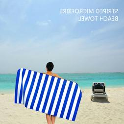 1 Pack Large Beach Towel Blue Nautical Stripe Pattern 90*170