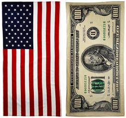 $100 Bill & American Flag Printed Beach Towel Set - 2 Towels