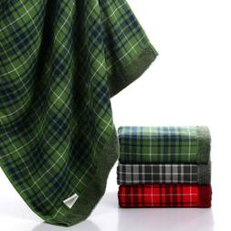 100% Cotton Plaid Striped Bath Towel Quick-Drying Super Soft