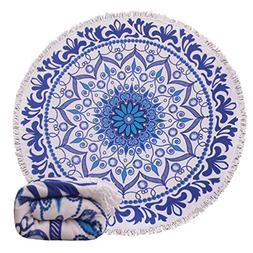Genovega 24 Options Thick Round Beach Towel Blanket – Blue