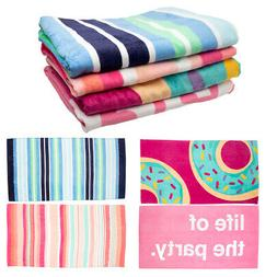 "2 Pack 32"" x 62"" Cotton Velour Beach Towel Set Soft Over"