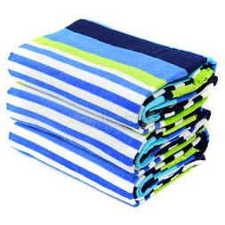 "3 Pack Large Beach Towel Blue Nautical Stripe Pattern 62"" x"
