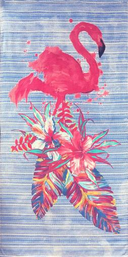 "30"" X 60"" Fashion Flamingo and Palms Velour Beach Towel 100%"