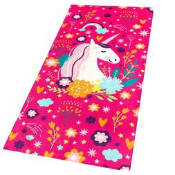 "30""x60"" Fancy Unicorn Velour Beach Towel 100% Cotton"