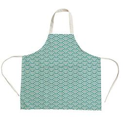 3D Printed Cotton Linen Big Pocket Apron,Abstract,Curly Bold