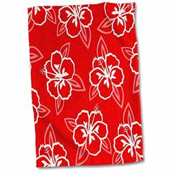 3D Rose Hawaiian Hibiscus Flower Print-Red and White Hand/Sp
