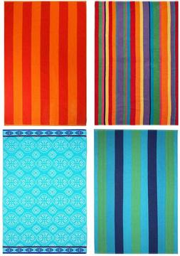 COTTON CRAFT - 4-Pack Assorted Velour Beach Towels - Large 3