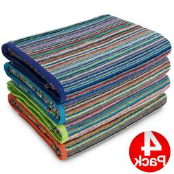 Kaufman-4 Pack-Beach Terry Royal Stripe Towel.Assorted Color