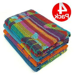 KAUFMAN- PROMO ASSORTED JACQUARD BEACH TOWEL SET of 4PC 30x6