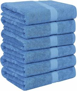 Pack 6 Cotton Bath Towels 22x44 Inch Super Absorbent  For Po
