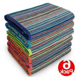 Kaufman-6 Pack-Beach Terry Royal Stripe Towel.Assorted Color