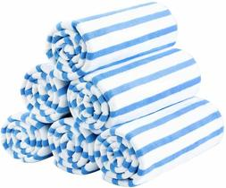 6 Pack Beach Towel Cabana Striped Blue Wholesale Lot JML Tow