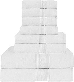 Utopia Towels Luxurious 700 GSM Thick 8 Piece Towel Set Whit