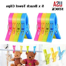 8 Pack Beach Towel Clips Set Large Sand Pool Chair Clothes P