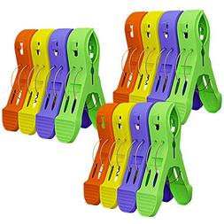 Attmu 12 Pack Beach Towel Clips Chair Clips Towel Holder in