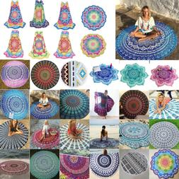 Boho Hippie Mandala Round Towel Tapestry Beach Throw Blanket