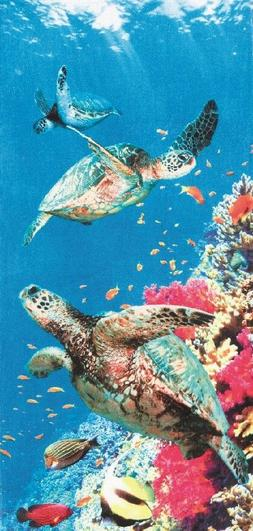 Coral Turtle Velour Brazilian Beach Towel 30x60 Inches