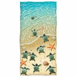 Dawhud Direct Turtles on the Beach Cotton Beach Towel