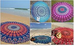 Pack of 5, The Art Box Indian Mandala Round Roundie Beach Th