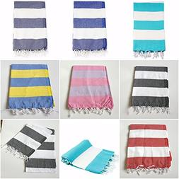 Pack of 6, Turkish Peshtemal Large Beach Towel Set of 6, Abs