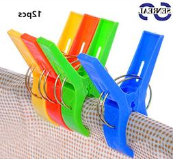 SENREAL Durable Large Beach Towel Clips Plastic Clothespins