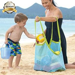 Satisfaction1 Large Portable Beach Mesh Toys Tote Bag Sturdy