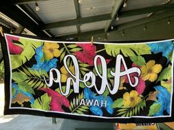 Aloha Hawaii Colorful Red Blue  Yellow And Pink Hibiscus Haw