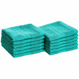 AmazonBasics Fade-Resistant Cotton Washcloth - 12-Pack, Blac