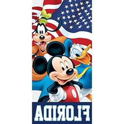 Disney American Flag Friends Mickey Goofy Donald Beach Towel