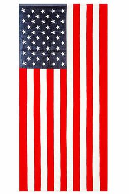 "American Flag ""Home of the Brave"" Print Beach Towel 100% Cot"