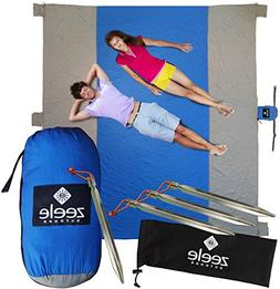 Sandproof Beach Blanket XL 10 x 9 - Great for Festivals, Cam