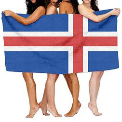 "Beach Towel Flag Of Iceland 80"" X 130"" Soft Lightweight Abso"