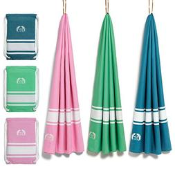 Eden Cove Microfiber Beach Towel with Drawstring Pouch Bag P