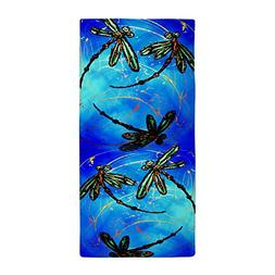 CafePress Dragonfly Flit Electric Blue Beach Towel Large Bea
