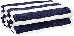 AmazonBasics Beach Towel - Cabana Stripe, Navy Blue, Pack of