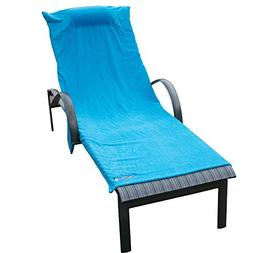 Beach Towel Chair Cover with Pockets and Pillow - Soft Plush