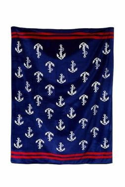 beach towel for two anchors blue velour