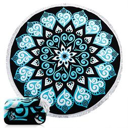 Ricdecor Beach Towel Indian Mandala Microfiber Large Round B