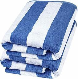 "Beach Towel Large Cabana Striped Blue Cotton 35x70"" Wholesal"