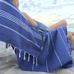 BEACH TOWEL Oversized 39x75 Turkish Cotton Zippered Pocket Y