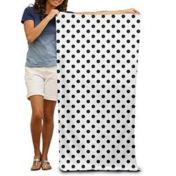 SARA NELL Adults Beach Towel Polka Dot Black And White  Quic