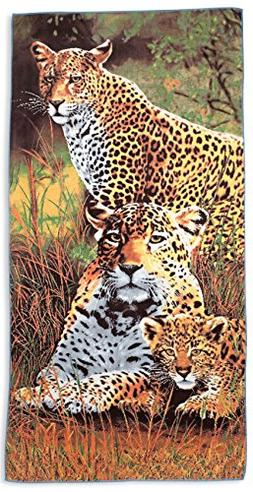 Beach Towel - Leopard Print Towel, Large, Soft, Absorbent, F