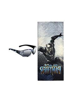 Panther Beach Towel Black with Black Panther Sunglasses for