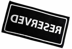 Zeckos Black And White Reserved Cotton Velour Beach Towel 30