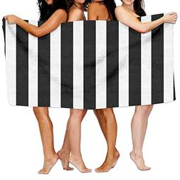 WEEDKEYCAT Black White Striped Beach Towels Polyester Quick
