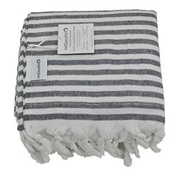 InfuseZen Black and White Striped Turkish Terry Towel for th