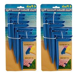 Set of 8 Black Duck Brand Blue Picnic/Beach Blanket Fastener