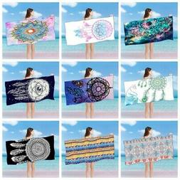 Boho Printed Beach Towel Rectangle Large Microfiber Bath Tow