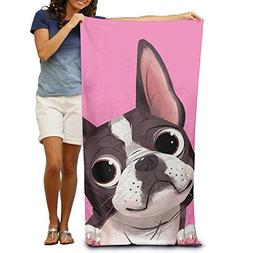 Boston Terrier Dog Beach Towels Luxurious 100% Polyester Poo