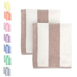 Cabana Beach Towel 2 Pack- 30 x 70 Over-Sized Striped Cotton